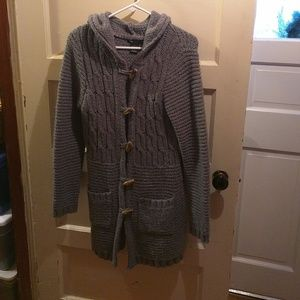 BCBGMaxazria gray button up hooded sweater L